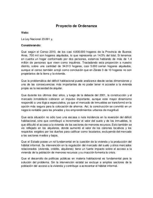 Proyecto de ordenanza oficina municipal del inquilino for Oficina municipal del taxi