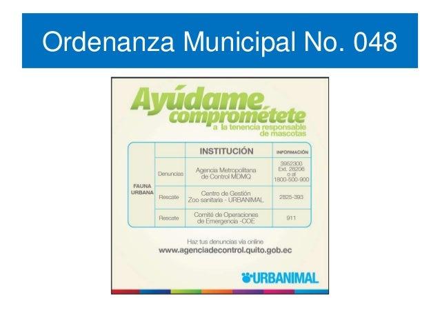 Ordenanza Metropolitana No. 048 Fauna Urbana de Quito