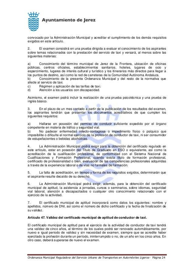 Ordenanza municipal reguladora del servicio urbano de transportes en - Oficina municipal del taxi ...