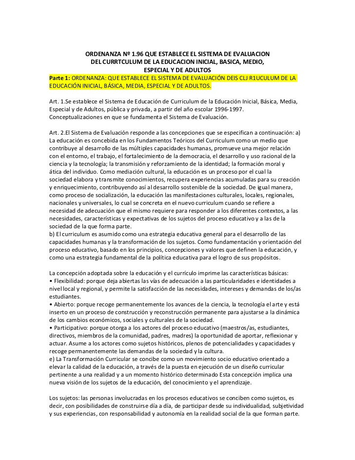 ORDENANZA Nº 1.96 QUE ESTABLECE EL SISTEMA DE EVALUACION              DEL CURRTCULUM DE LA EDUCACION INICIAL, BASICA, MEDI...