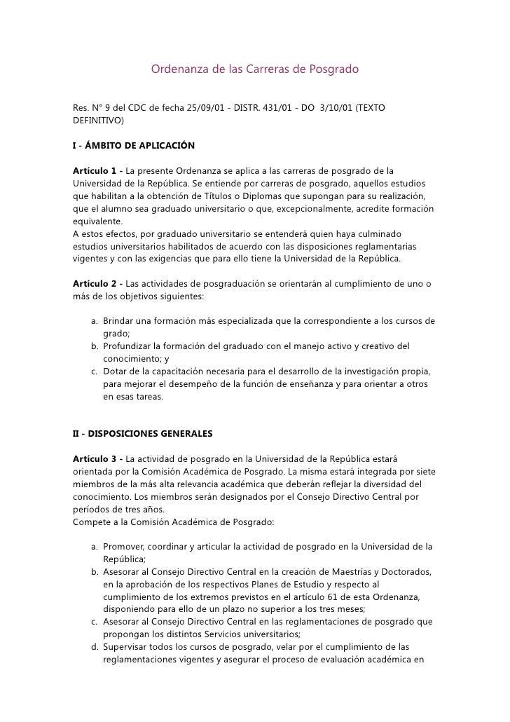 Ordenanza de las Carreras de Posgrado   Res. N° 9 del CDC de fecha 25/09/01 - DISTR. 431/01 - DO 3/10/01 (TEXTO DEFINITIVO...
