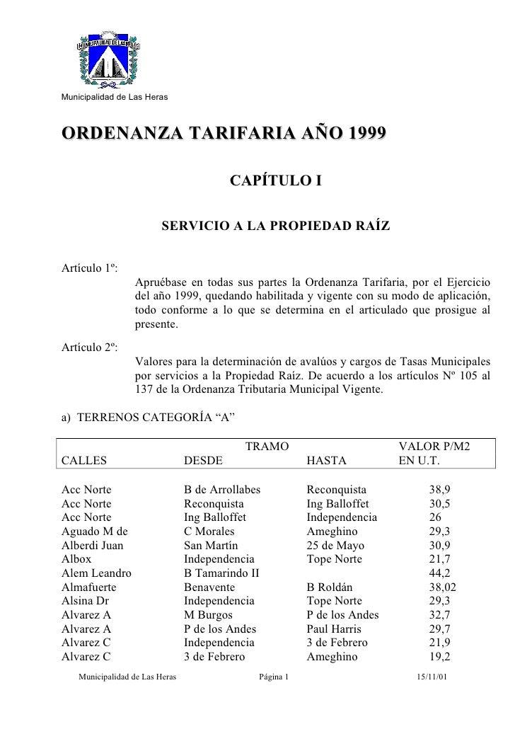 Municipalidad de Las Heras    ORDENANZA TARIFARIA AÑO 1999                                           CAPÍTULO I           ...