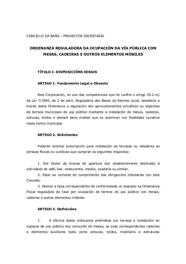 CONCELLO DA BAÑA – PROXECTOS SECRETARÍA ORDENANZA REGULADORA DA OCUPACIÓN DA VÍA PÚBLICA CON MESAS, CADEIRAS E OUTROS ELEM...