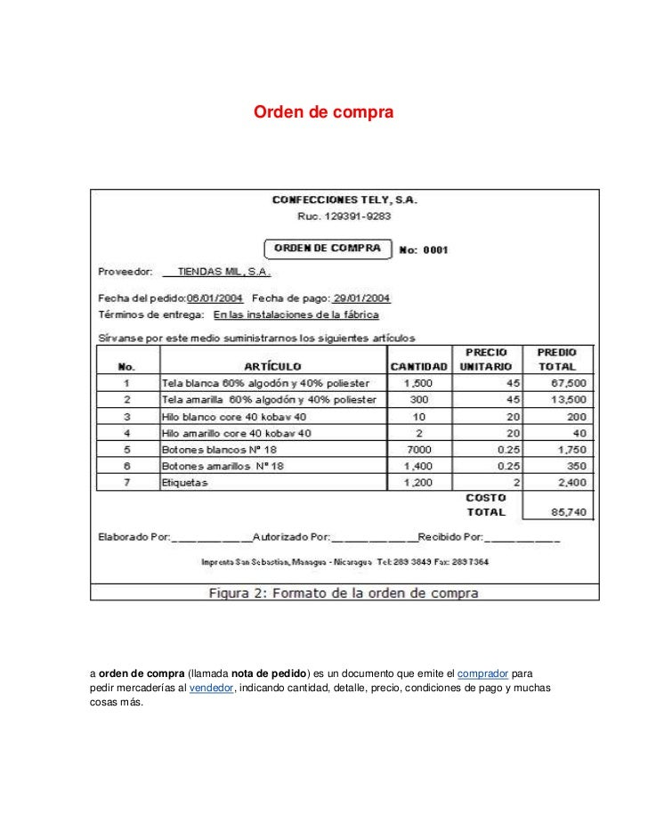 Orden de compra 1 1 for Manual de compras de un restaurante pdf
