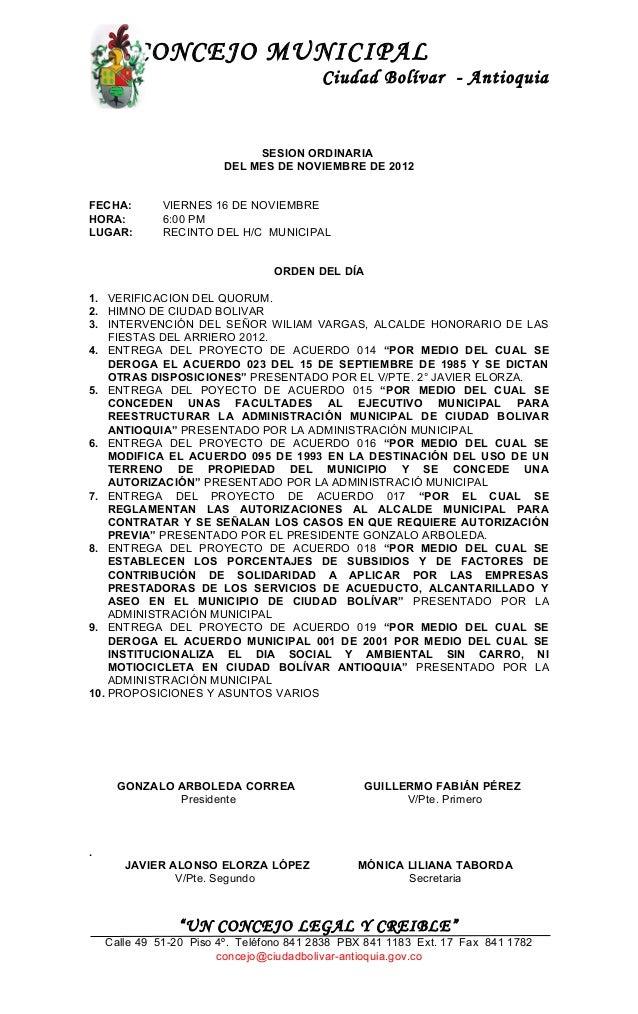 CONCEJO MUNICIPAL                                         Ciudad Bolívar - Antioquia                             SESION OR...
