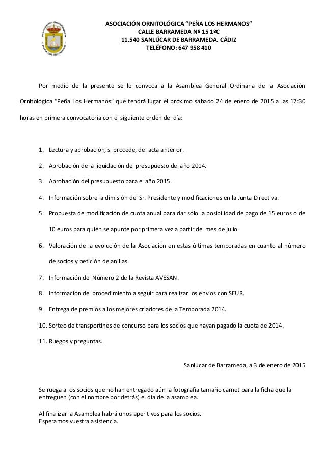 """ASOCIACIÓN ORNITOLÓGICA """"PEÑA LOS HERMANOS"""" CALLE BARRAMEDA Nº 15 1ºC 11.540 SANLÚCAR DE BARRAMEDA. CÁDIZ TELÉFONO: 647 95..."""