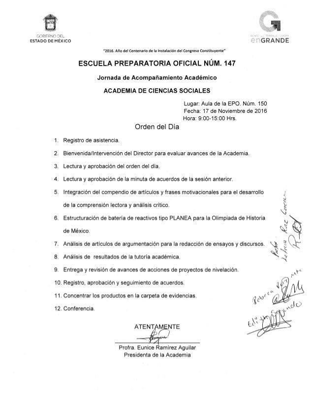 Orden del día y acta de reunión de academia 3