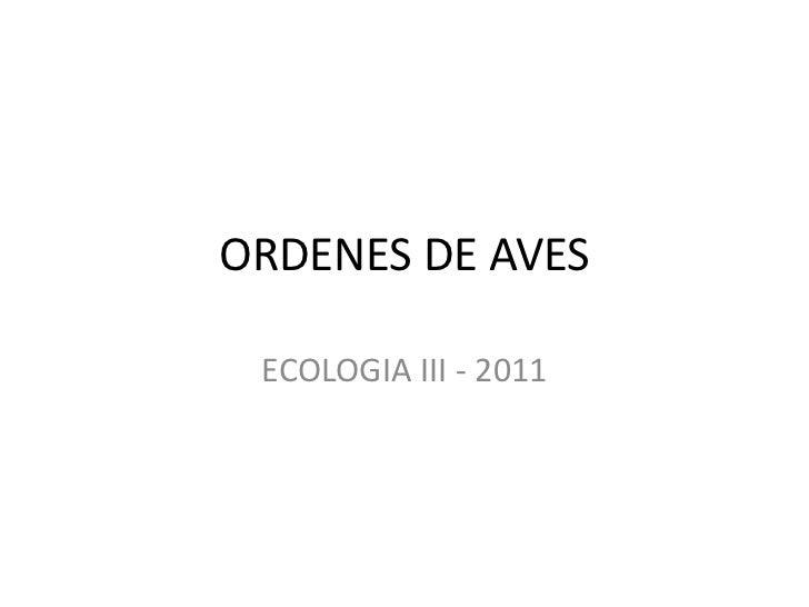 ORDENES DE AVES ECOLOGIA III - 2011