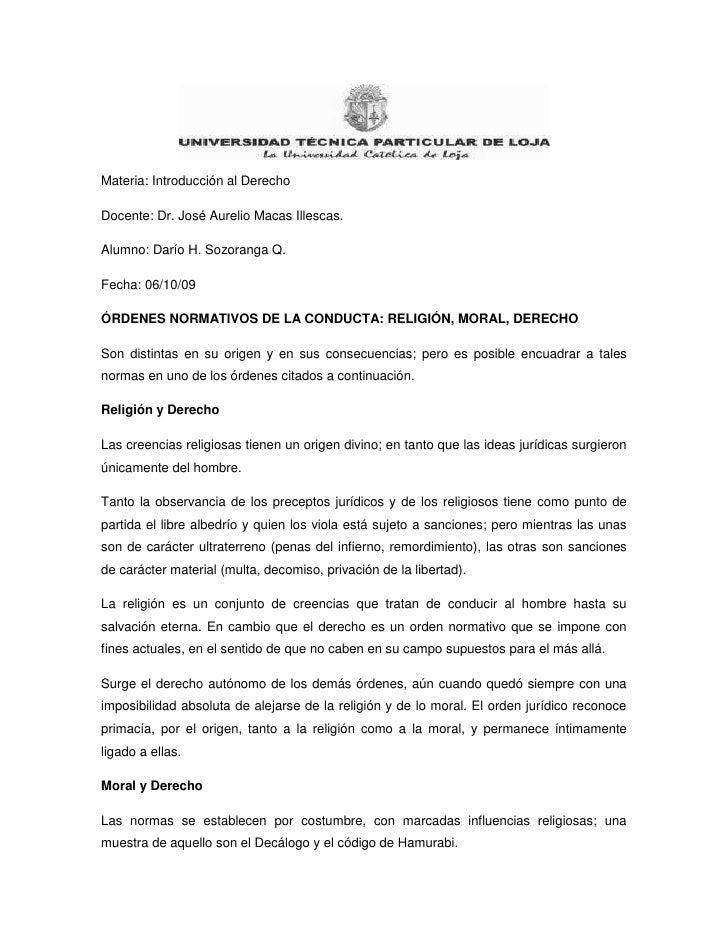 Materia: Introducción al Derecho <br />Docente: Dr. José Aurelio Macas Illescas.<br />Alumno: Darío H. Sozoranga Q. <br />...