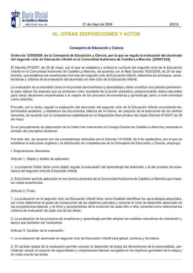 III.- OTRAS DISPOSICIONES Y ACTOSConsejería de Educación y CienciaOrden de 12/05/2009, de la Consejería de Educación y Cie...