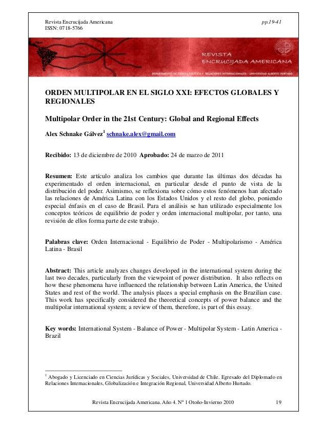 Revista Encrucijada Americana pp.19-41 ISSN: 0718-5766 Revista Encrucijada Americana. Año 4. Nº 1 Otoño-Invierno 2010 19 O...
