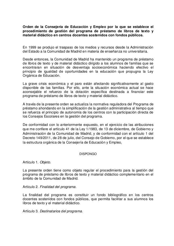 Orden de la Consejería de Educación y Empleo por la que se establece elprocedimiento de gestión del programa de préstamo d...