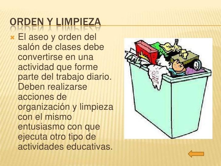 Orden y limpieza en el sal n for Organizacion y limpieza del equipo de trabajo en la cocina