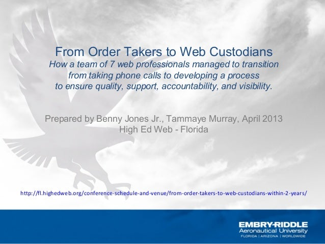 From Order Takers to Web CustodiansHow a team of 7 web professionals managed to transitionfrom taking phone calls to devel...