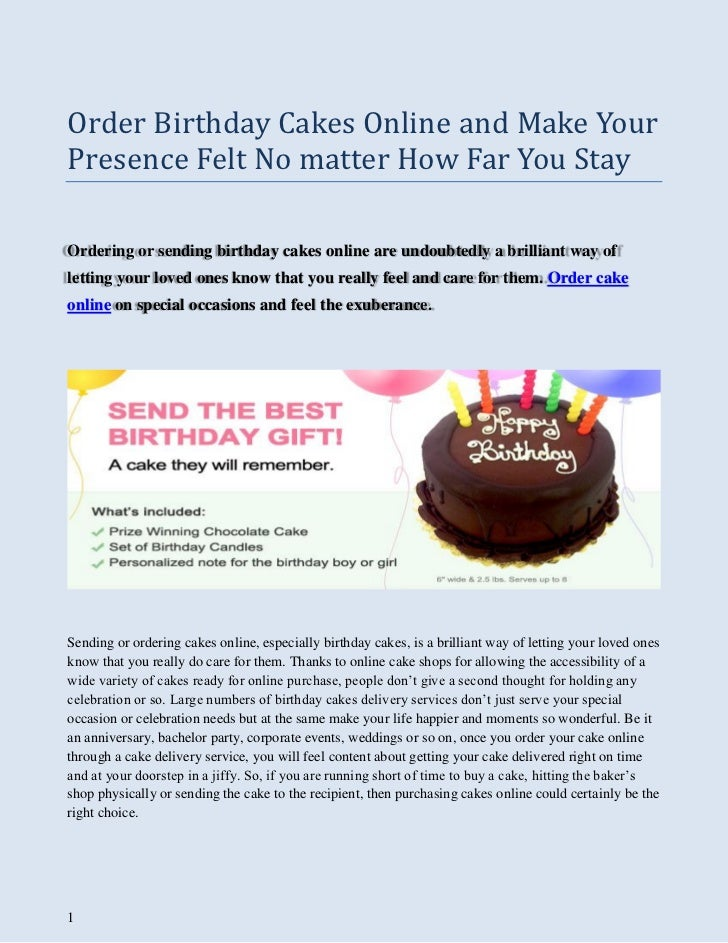 Order Birthday Cakes Online And Make Your Presence Felt No Matter How