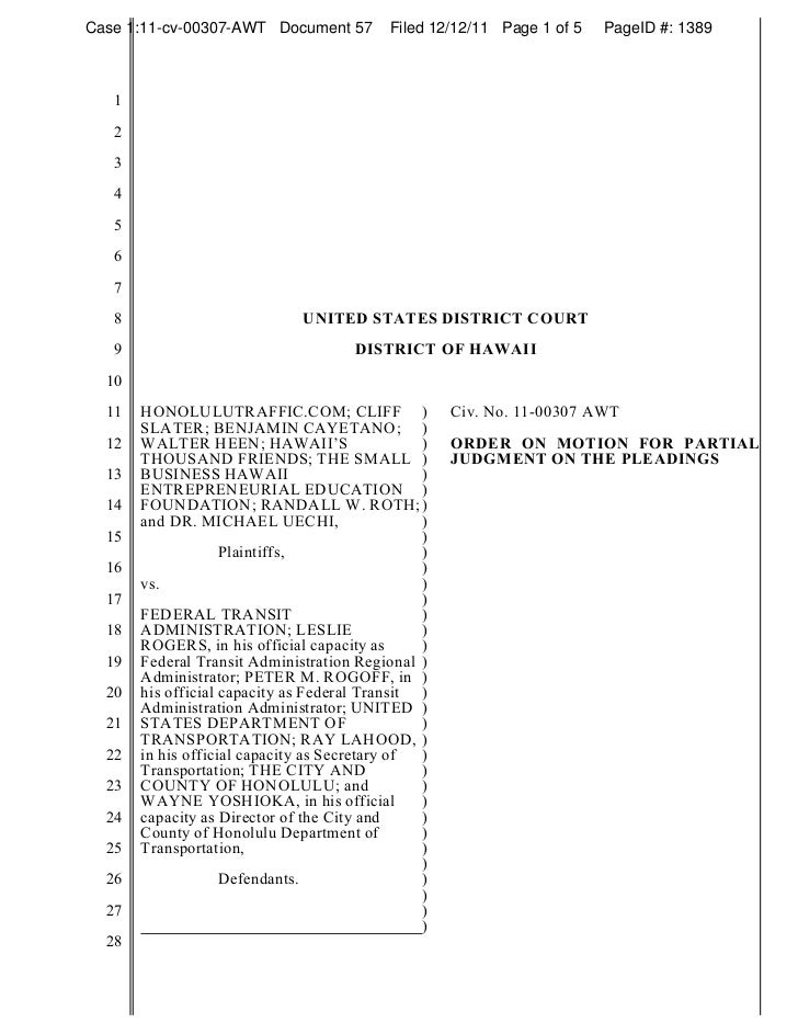 Case 1:11-cv-00307-AWT Document 57         Filed 12/12/11 Page 1 of 5   PageID #: 1389   1   2   3   4   5   6   7   8    ...