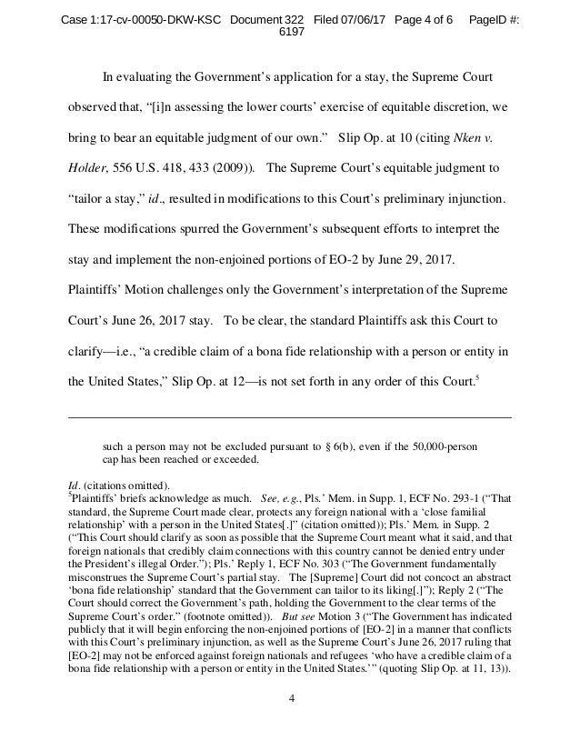 Order denying plaintiffs' emergency motion to clarify scope