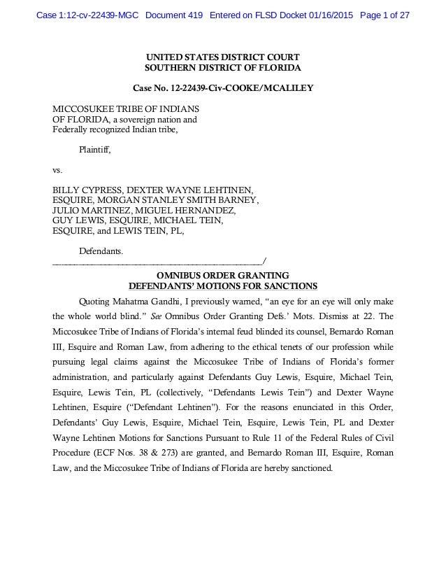 Order granting omnibus order granting defendants motions for sancti…