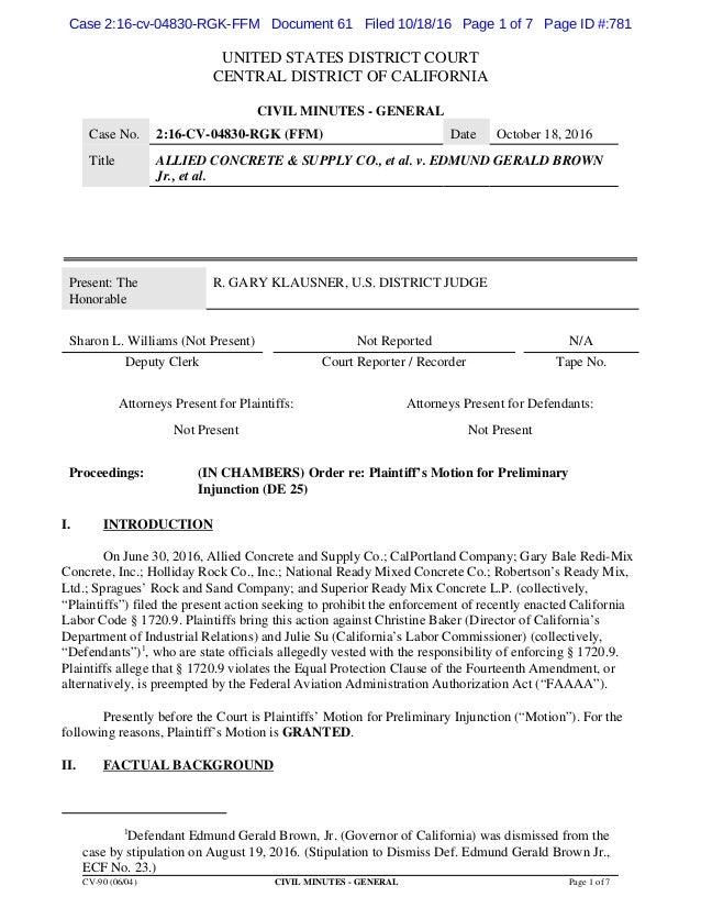 Federal Court Order  >> Federal Court Order Suspending Ab 219
