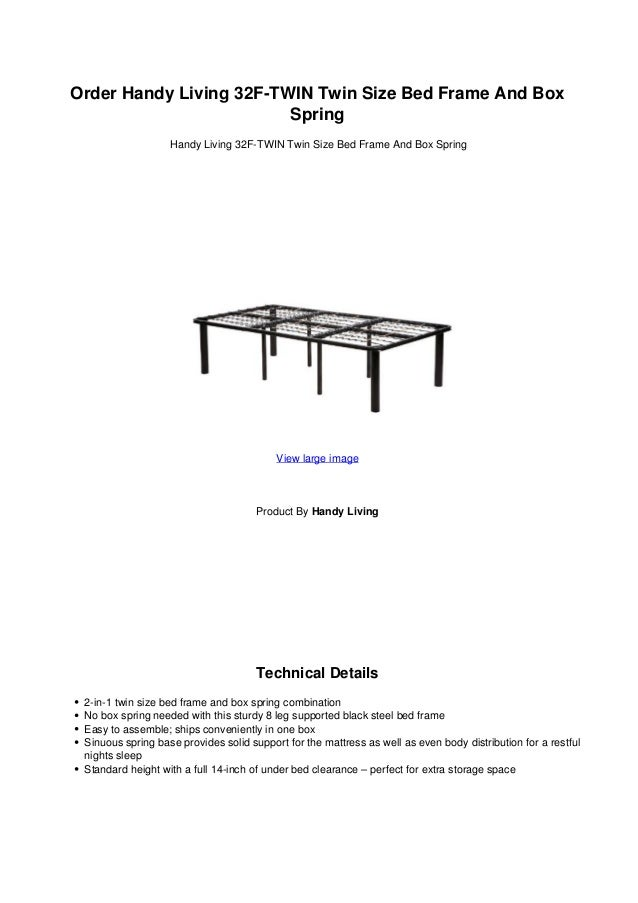 Order handy living 32 f twin twin size bed frame and box spring
