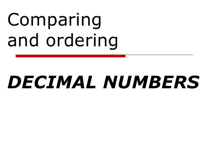 7th Grade Objective: Ordering Decimals