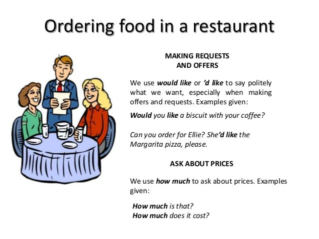 Ordering food in a restaurant MAKING REQUESTS AND OFFERS We use would like or 'd like to say politely what we want, especi...