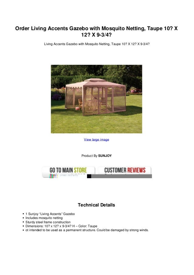 Order Living Accents Gazebo With Mosquito Netting Taupe 10 X12