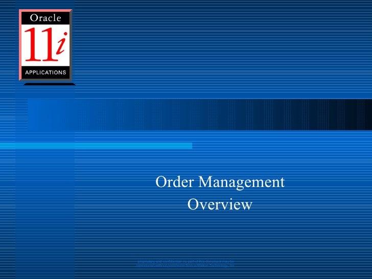 Order Management Overview