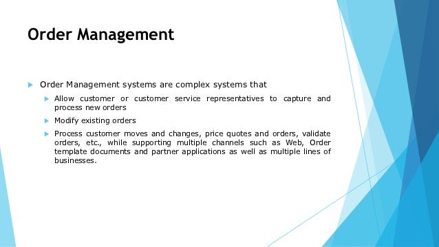 Order Management Provisioning And Activation
