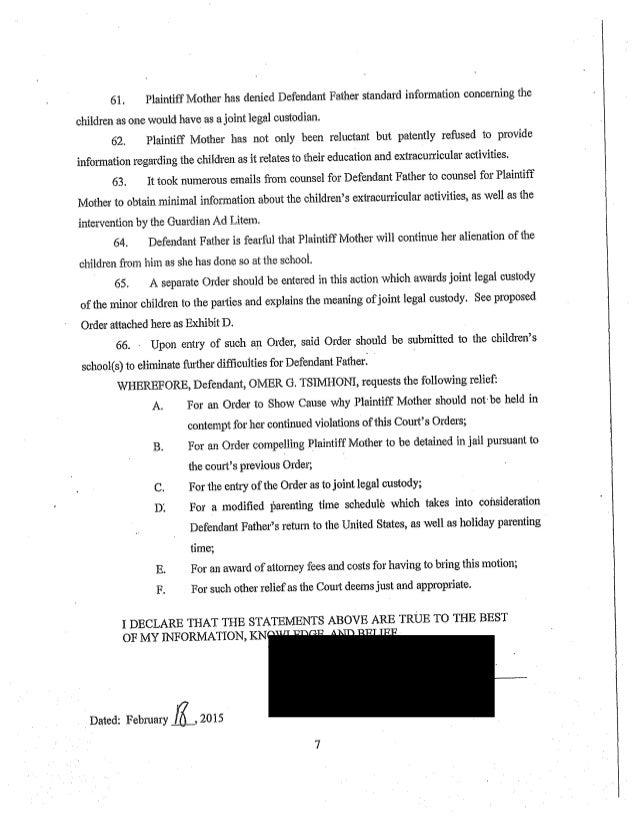 Tsimhoni Vs Tsimhoni Full Court Documents In The Tale Of