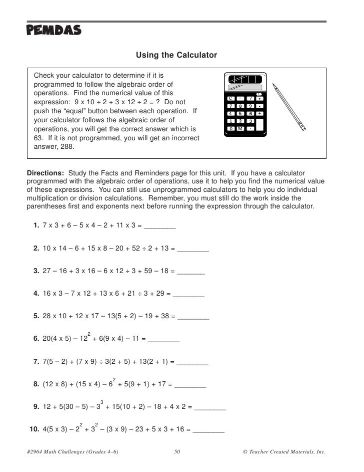 Order Of Operations Basic Practice