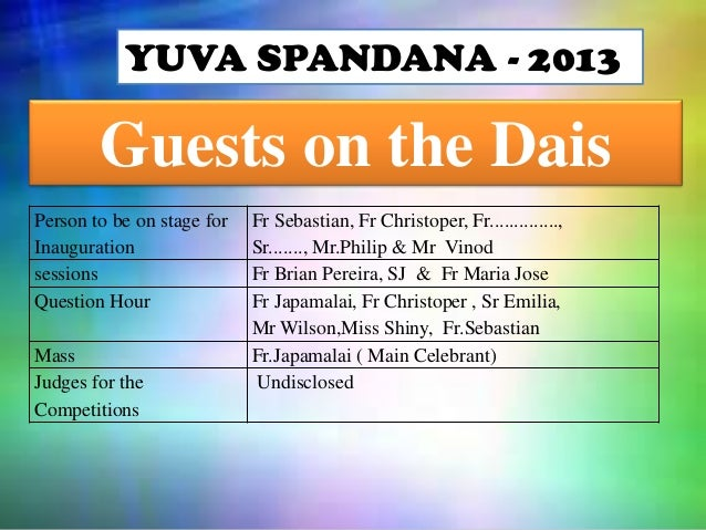 YUVA SPANDANA - 2013  Guests on the Dais Person to be on stage for Inauguration sessions Question Hour Mass Judges for the...