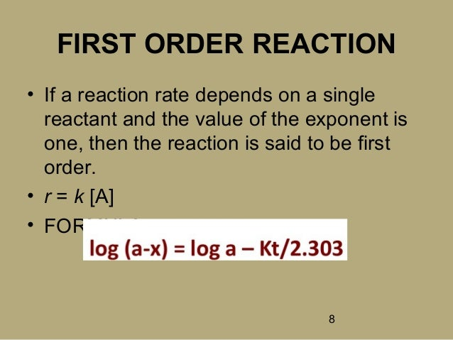 order of reaction Introduction to rate law expression, order of reaction, rate constant, units of specific rate, molecularity, first order, second order, third order, zero order reactions.