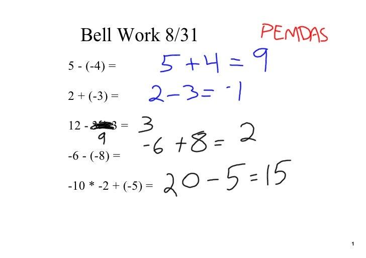 BellWork8/31 5(4)=  2+(3)=  123*3=  6(8)=  10*2+(5)=                         1