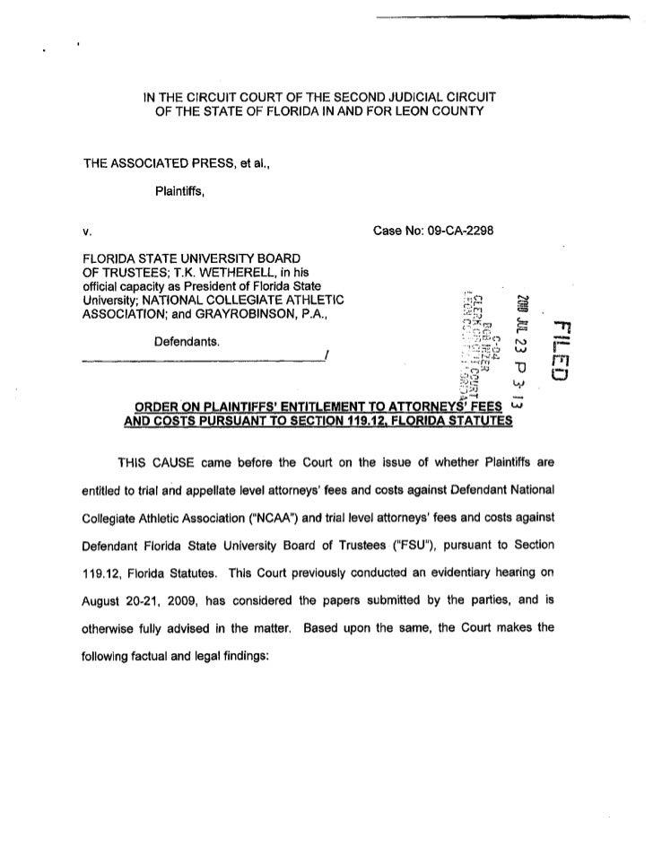 AP v. NCAA Order on Fee Entitlement