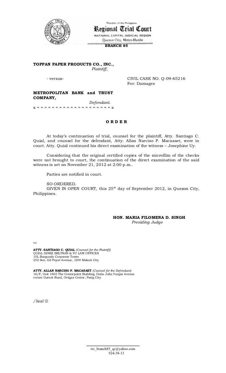 BRANCH 85TOPPAN PAPER PRODUCTS CO., INC.,                     Plaintiff,        - versus-                                 ...