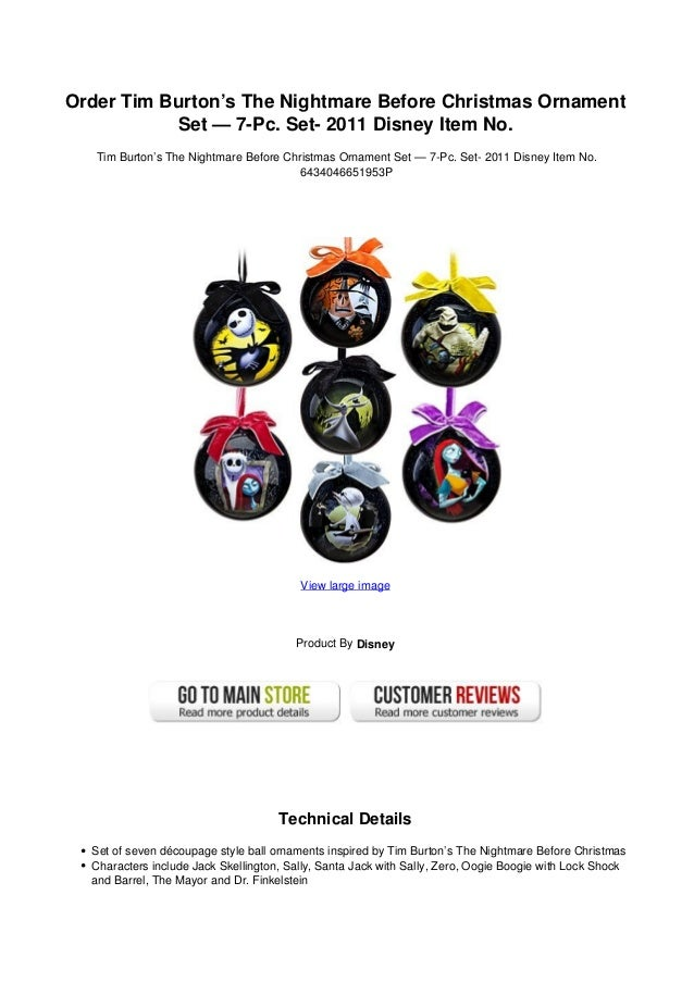 807056bf6ea2f Order tim burtons the nightmare before christmas ornament set - 7-pc. set-  2011 disney item no.