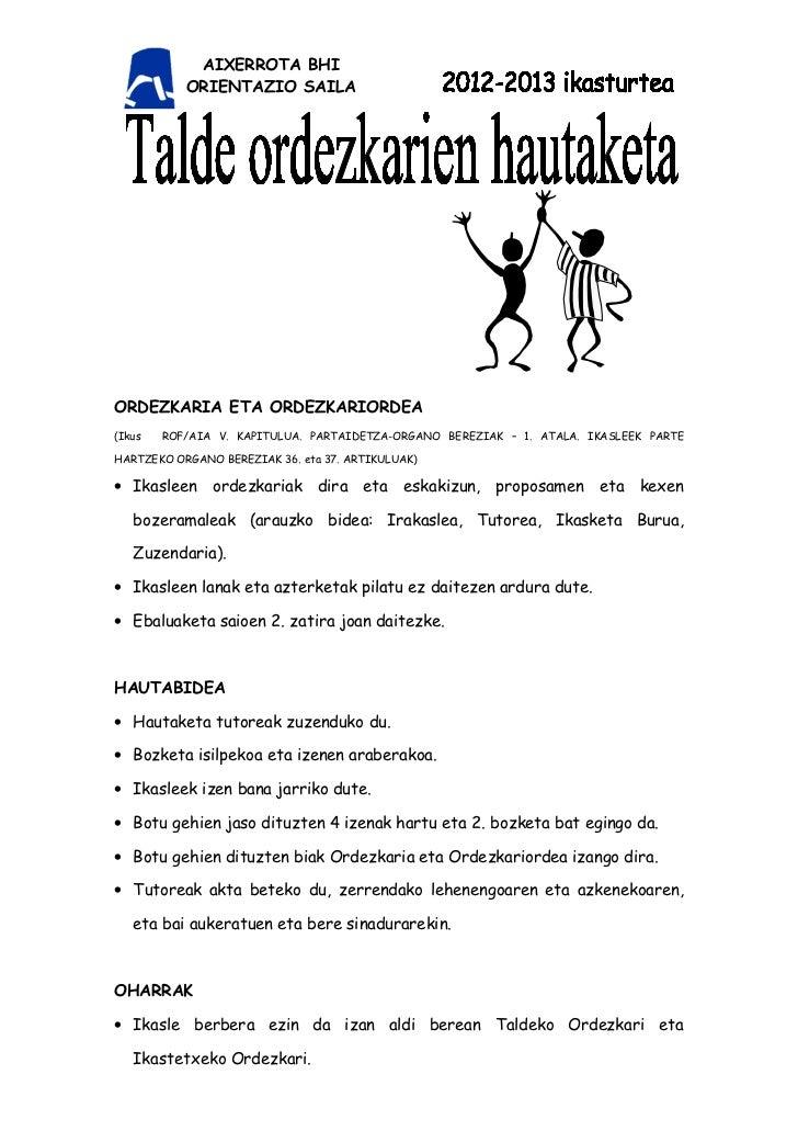 AIXERROTA BHI           ORIENTAZIO SAILAORDEZKARIA ETA ORDEZKARIORDEA(Ikus   ROF/AIA V. KAPITULUA. PARTAIDETZA-ORGANO BERE...