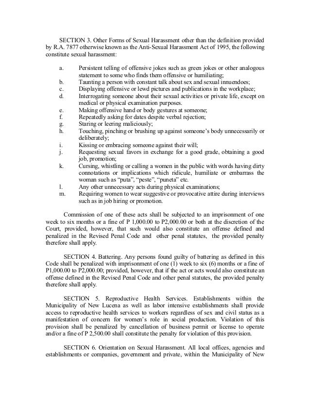 Anti sexual harassment act 1995 philippines zip code