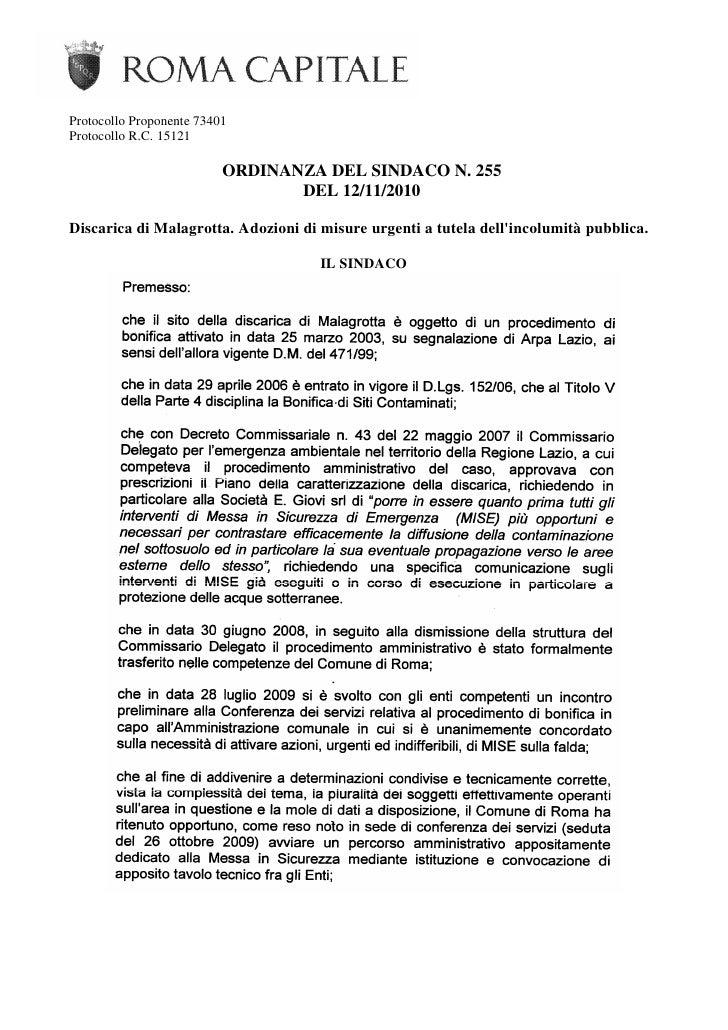 Protocollo Proponente 73401Protocollo R.C. 15121                          ORDINANZA DEL SINDACO N. 255                    ...