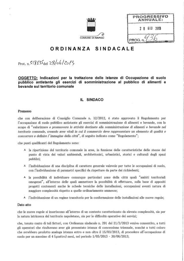 Ordinanza sindacale - OCCUPAZIONI SUOLO PUBBLICO, SI SNELLISCONO LE PROCEDURE PER BAR E RISTORANTI