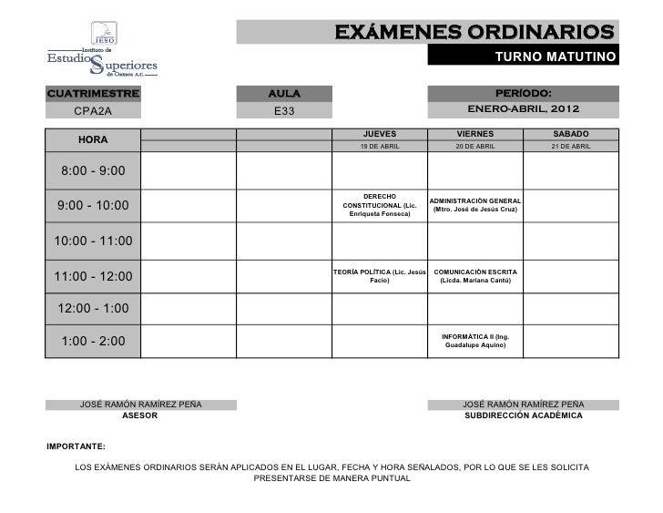 EXáMENES ORDINARIOS                                                                                                       ...