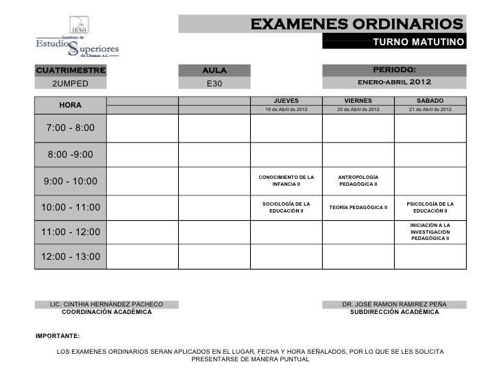 EXAMENES ORDINARIOS                                                                                                    TUR...