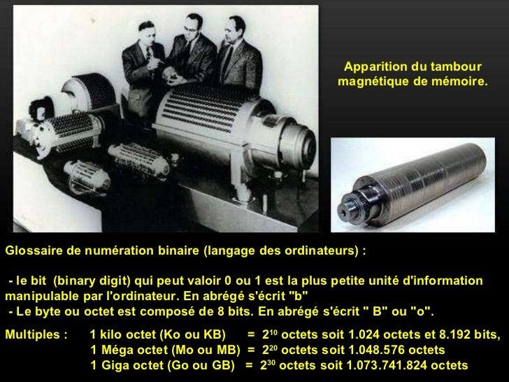 Apparition du tambour magnétique de mémoire. Glossaire de numération binaire (langage des ordinateurs) :  - le bit  (binar...