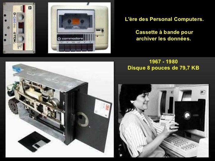 L'ère des Personal Computers. Cassette à bande pour archiver les données.  1967 - 1980 Disque 8 pouces de 79,7 KB