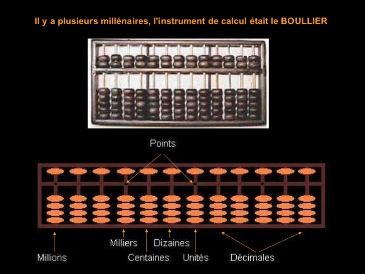 Il y a plusieurs millénaires, l'instrument de calcul était le BOULLIER
