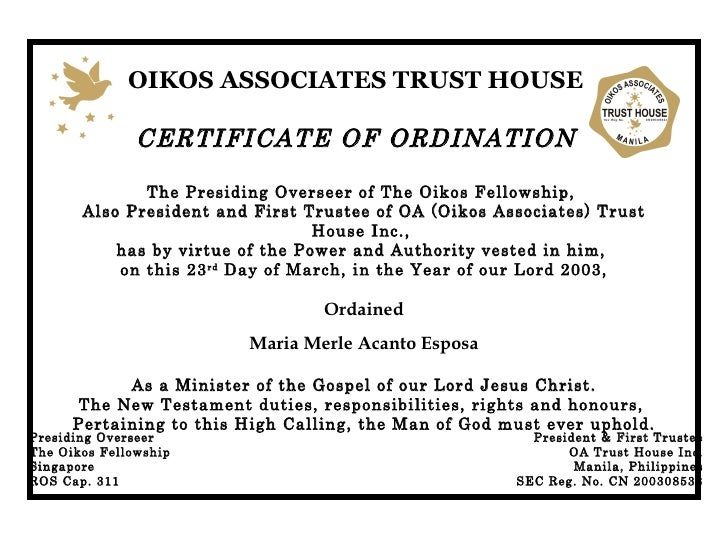 Ordination 2003 for Minister license certificate template