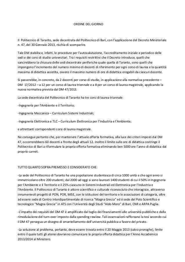 ORDINE DEL GIORNOIl Politecnico di Taranto, sede decentrata del Politecnico di Bari, con l'applicazione del Decreto Minist...
