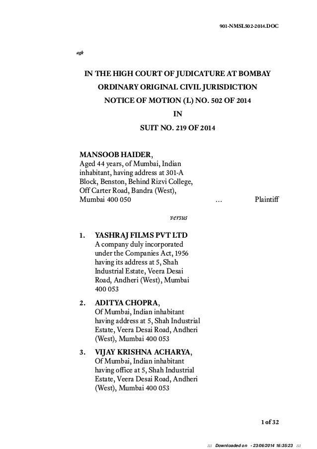 B om bay H igh C ourt 901-NMSL502-2014.DOC agk IN THE HIGH COURT OF JUDICATURE AT BOMBAY ORDINARY ORIGINAL CIVIL JURISDICT...