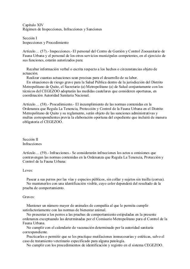 Capítulo XIVRégimen de Inspecciones, Infracciones y SancionesSección IInspecciones y ProcedimientoArtículo… (57).- Inspecc...